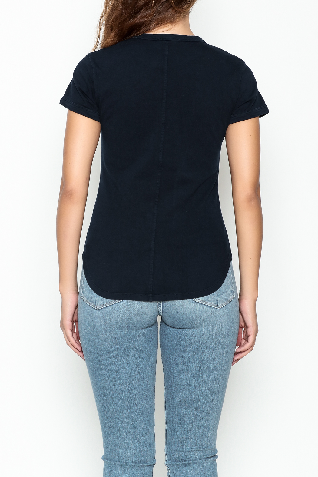 FRAME Denim Navy Ringer Tee - Back Cropped Image