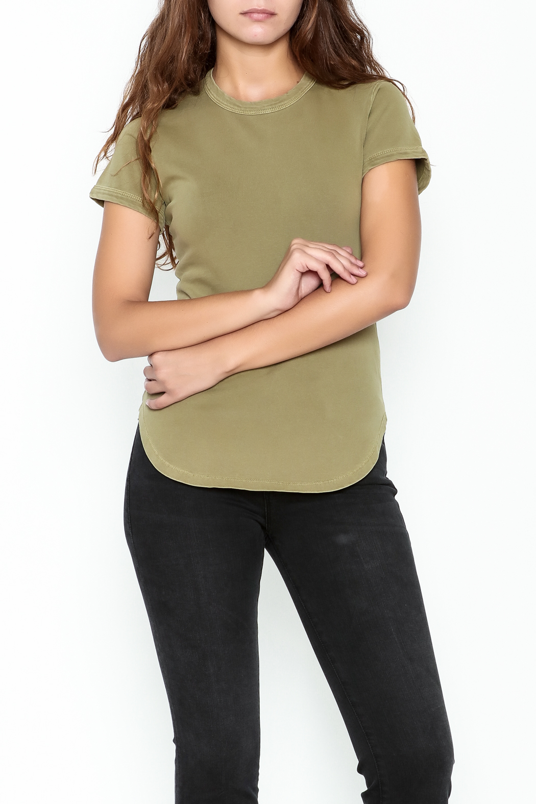 FRAME Denim Sage Green Tee - Front Cropped Image