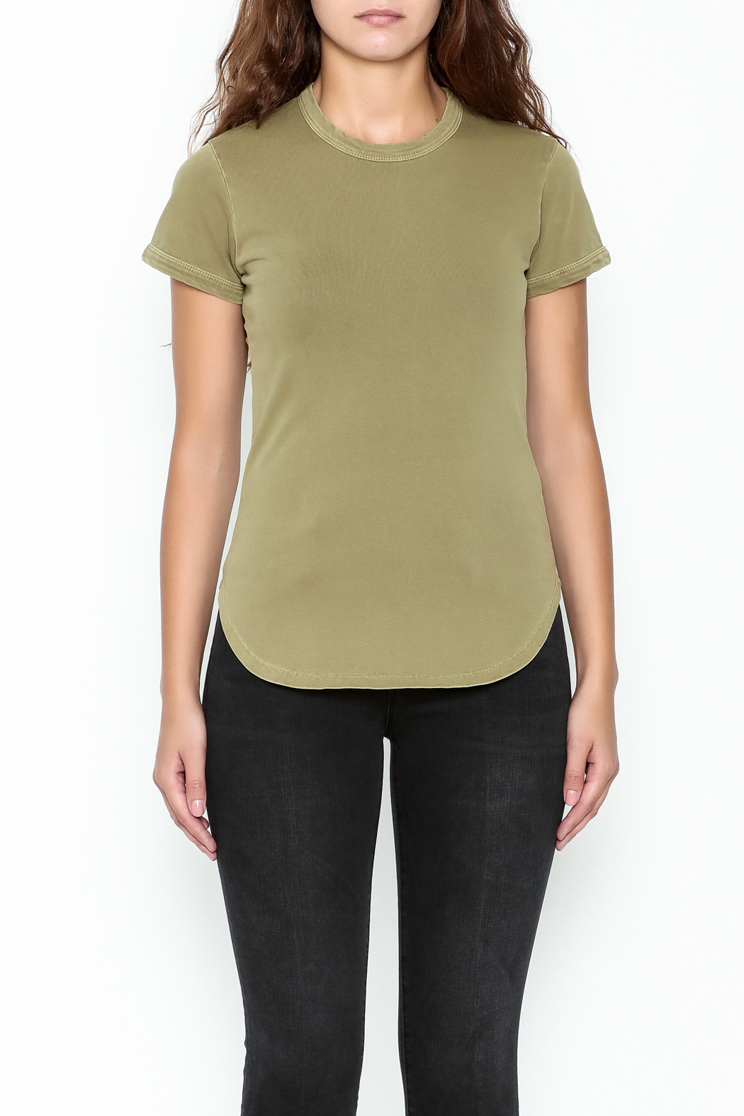 FRAME Denim Sage Green Tee - Front Full Image