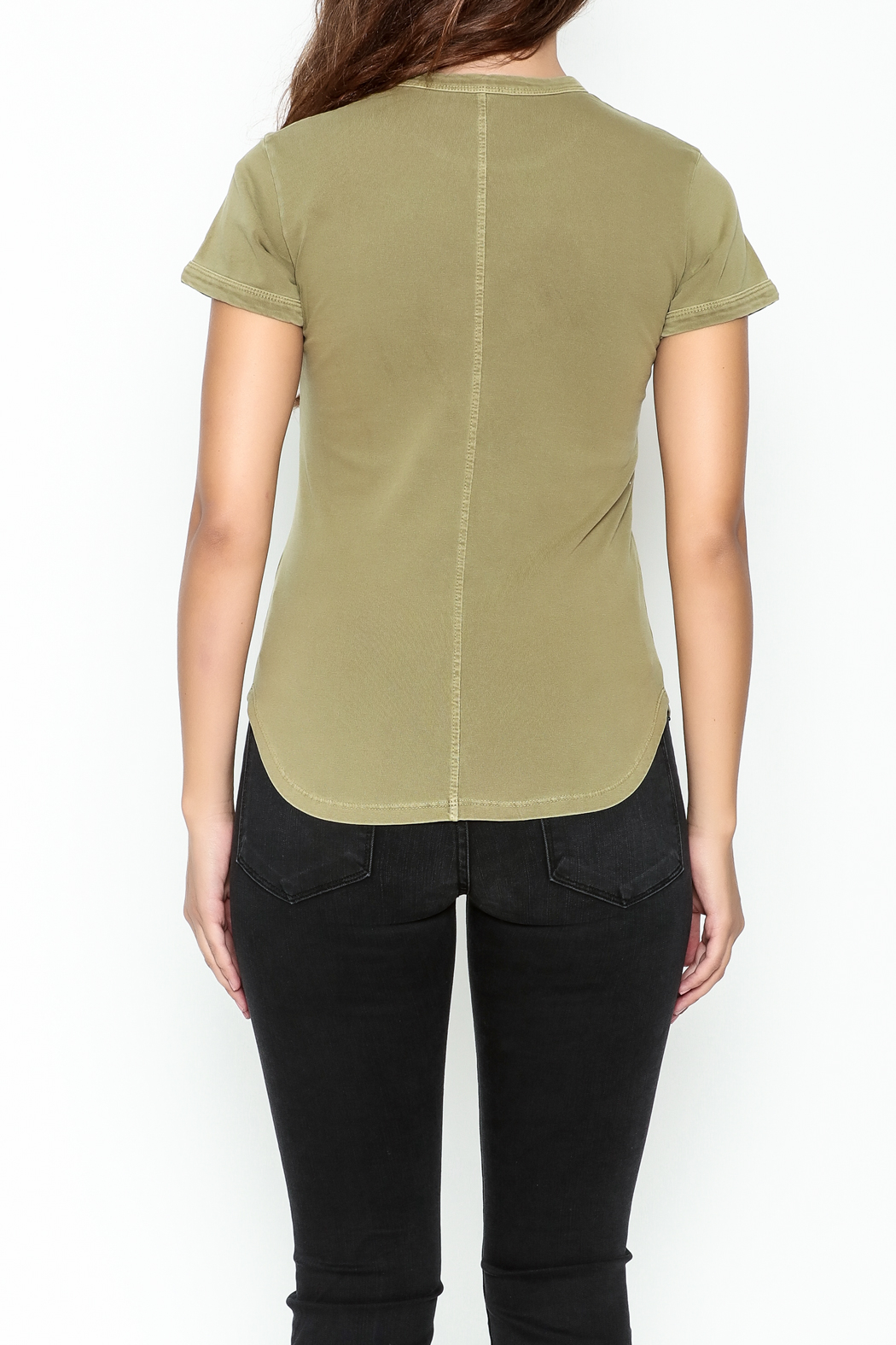 FRAME Denim Sage Green Tee - Back Cropped Image