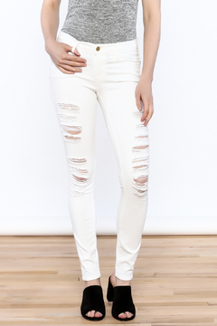 frame Distressed White Denim Jeans - Product List Image