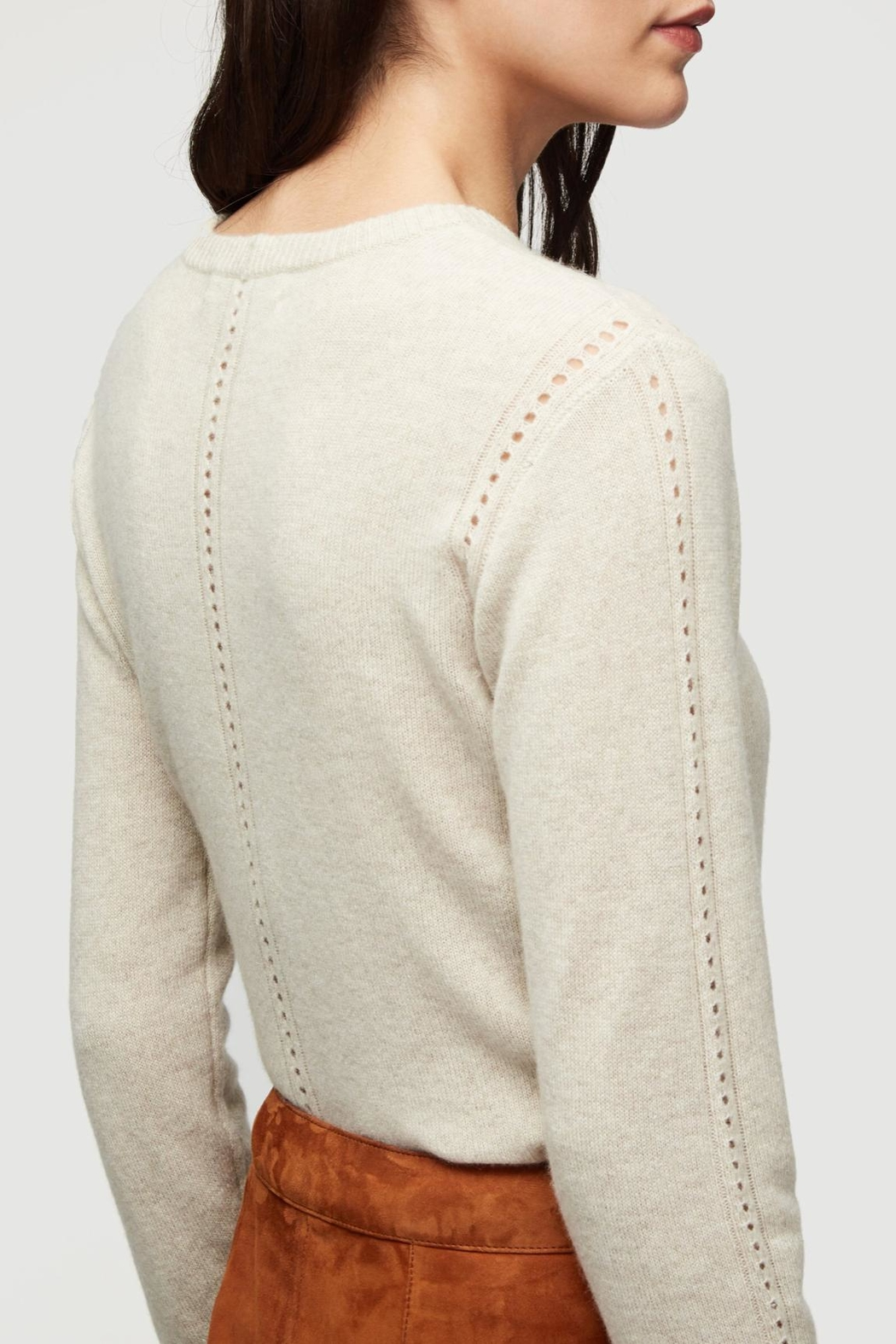 frame Oatmeal Cashmere Sweater - Back Cropped Image