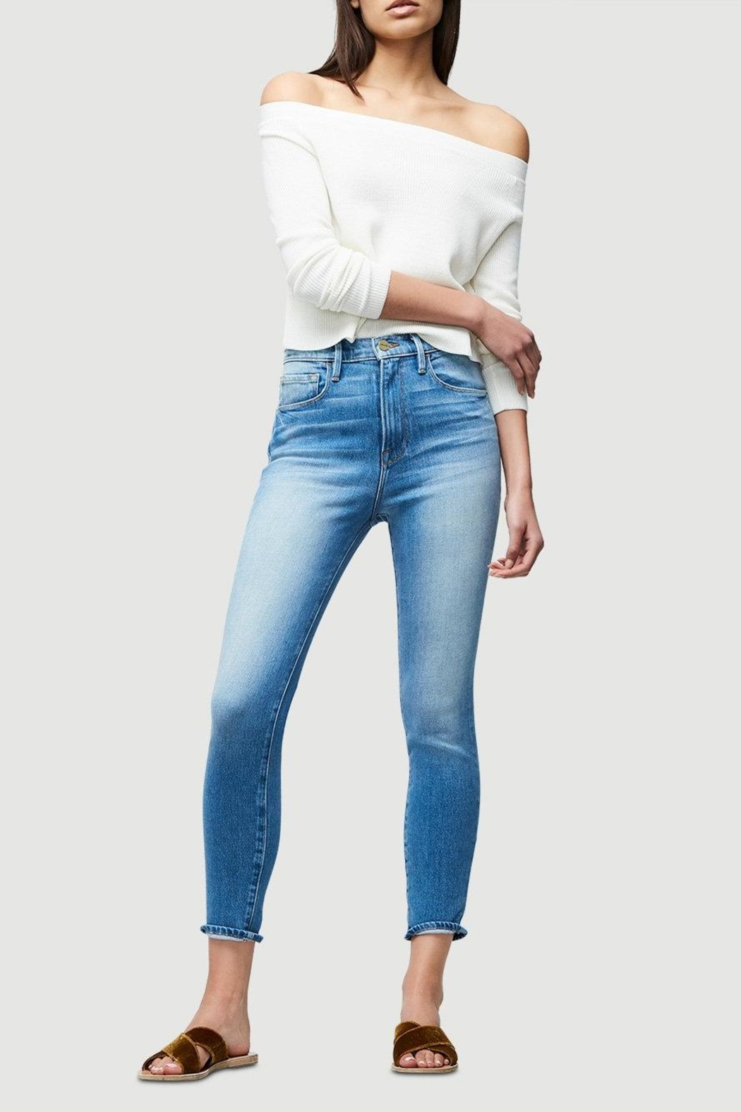 FRAME Denim Cropped Rib Sweater - Side Cropped Image