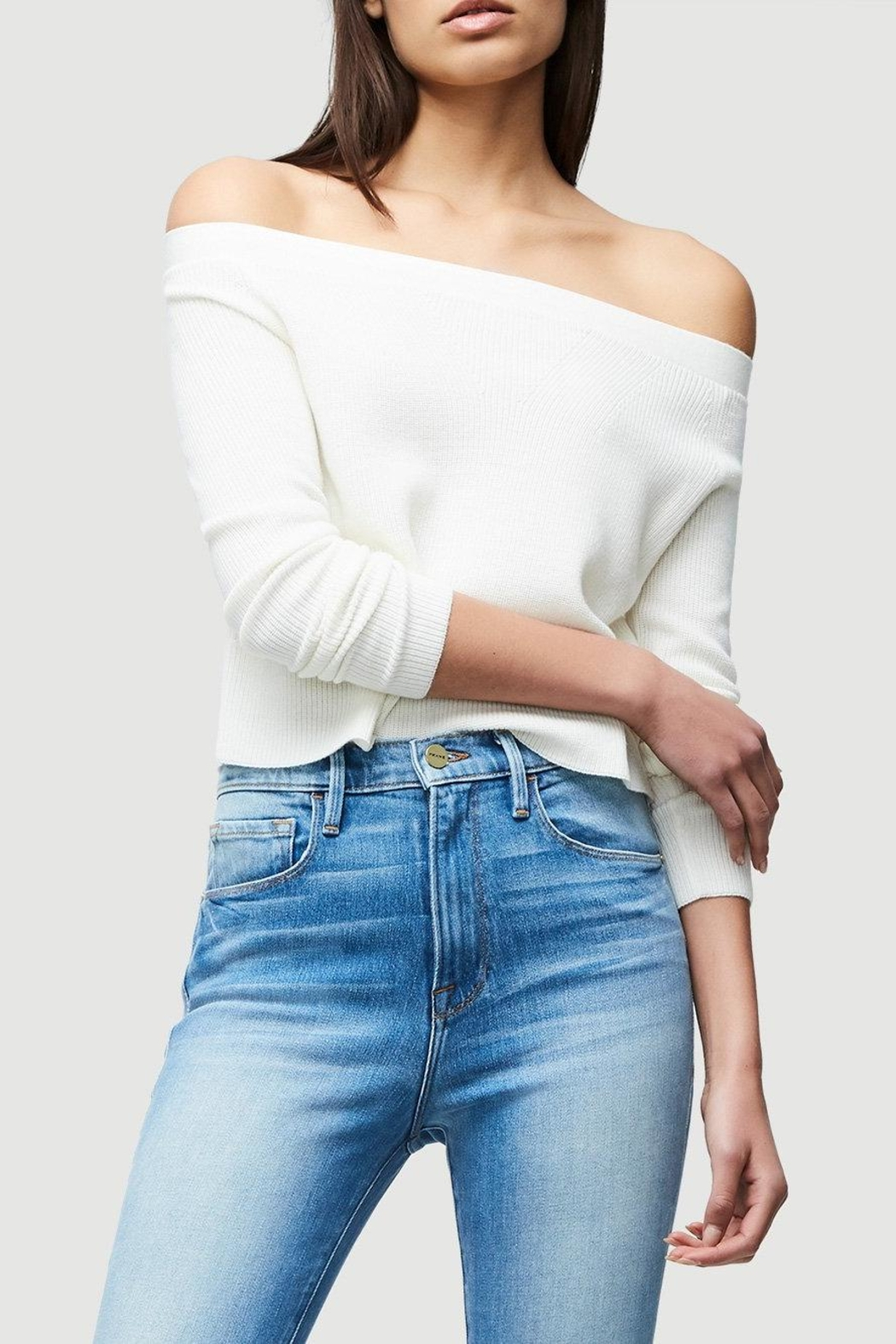 FRAME Denim Cropped Rib Sweater - Front Cropped Image