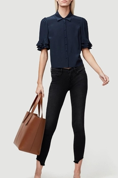 FRAME Denim Ruffle Top Navy - Product List Image