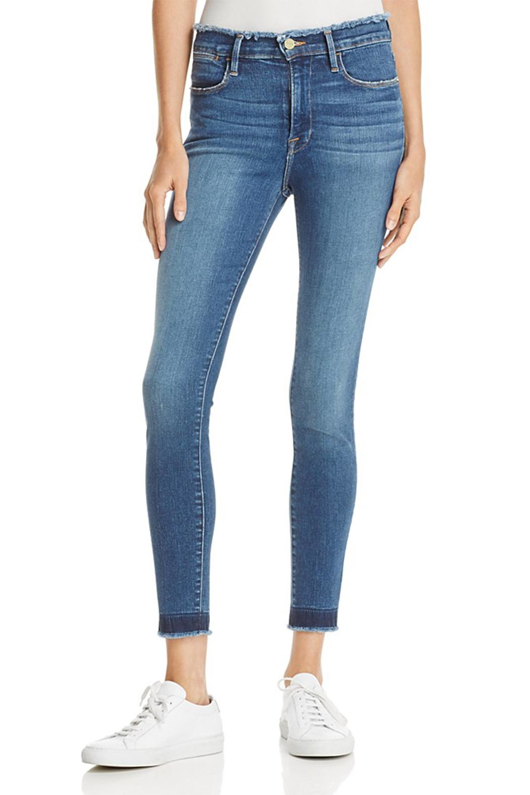 FRAME Denim Skinny Raw Edge Jeans - Front Cropped Image
