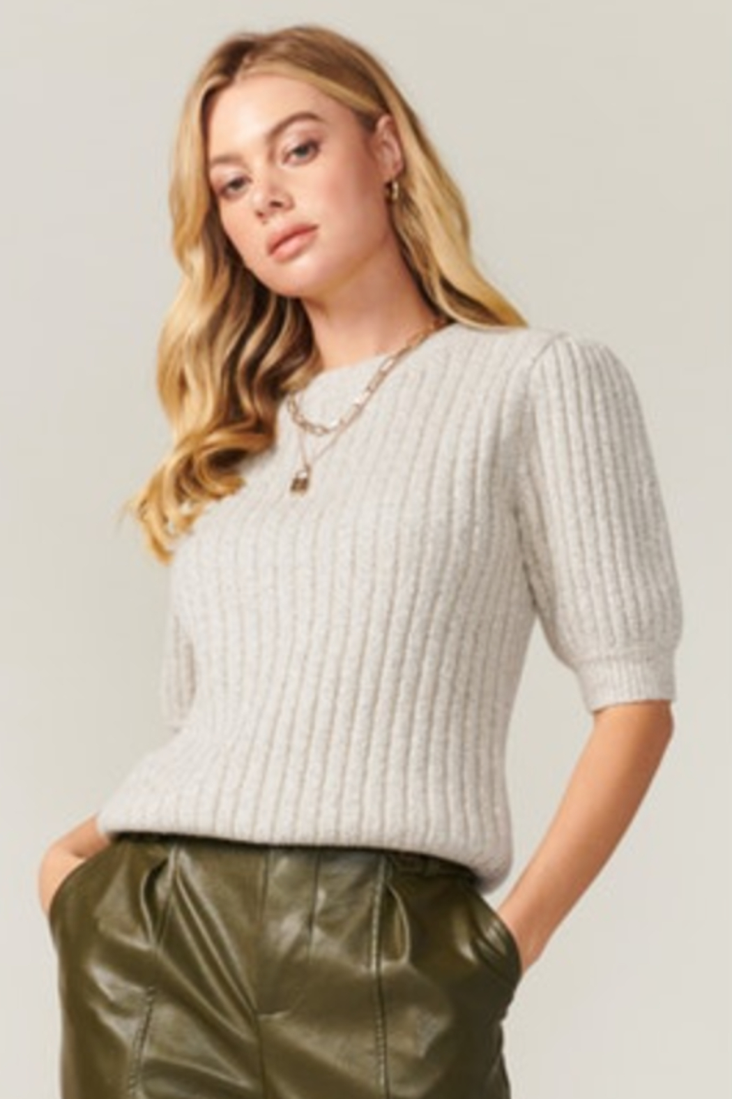 Greylin Francis Cozy Marled Knit Short Sleeve Knit Top - Front Full Image
