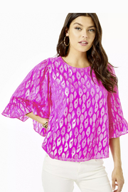 Lilly Pulitzer  Francis Flounce Sleeve Silk Top - Product Mini Image