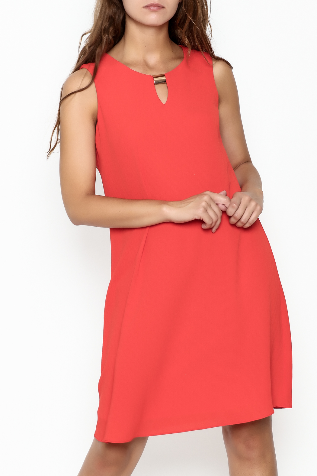 Frank Lyman Coral Shift Dress - Front Cropped Image