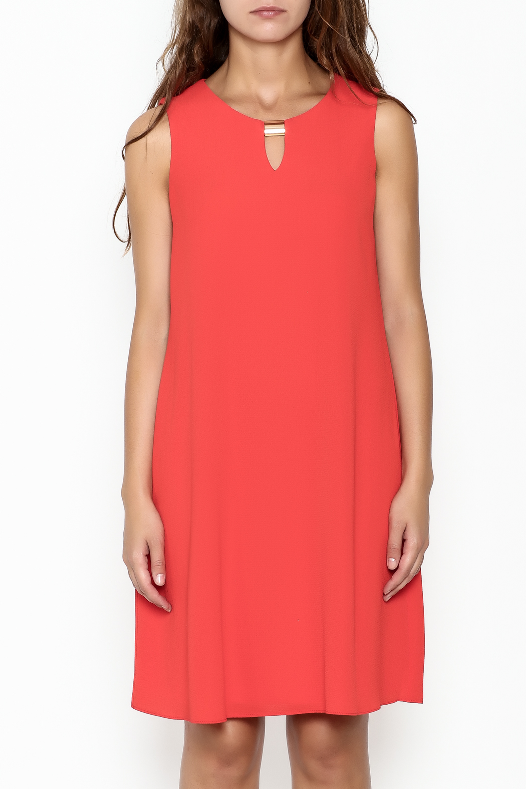 Frank Lyman Coral Shift Dress - Front Full Image
