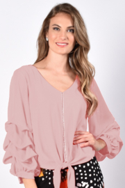 Frank Lyman  Tie Front Ruffle Long Sleeve V-neck Rhinestone Detailed Top - Front full body
