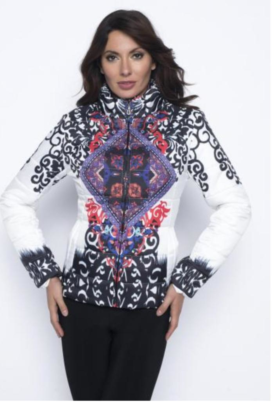 Frank Lyman Colourful Printed Bomber - Side Cropped Image