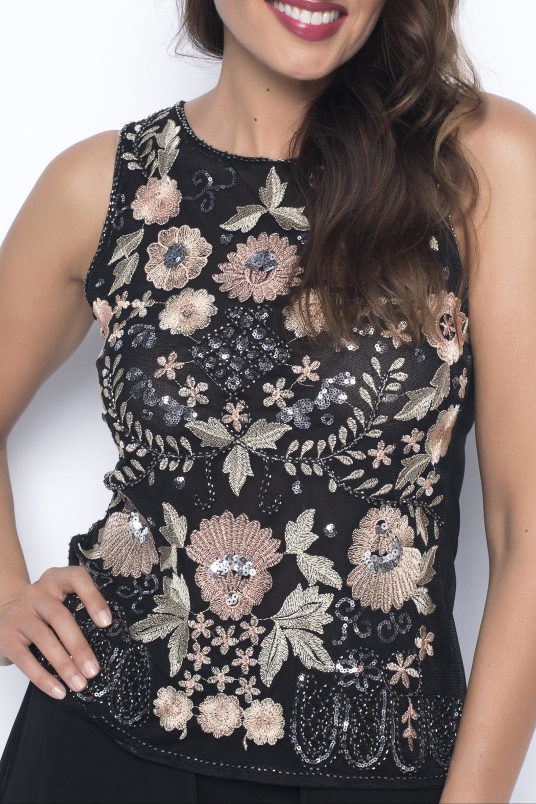 Frank Lyman Embroidered Floral Top - Back Cropped Image