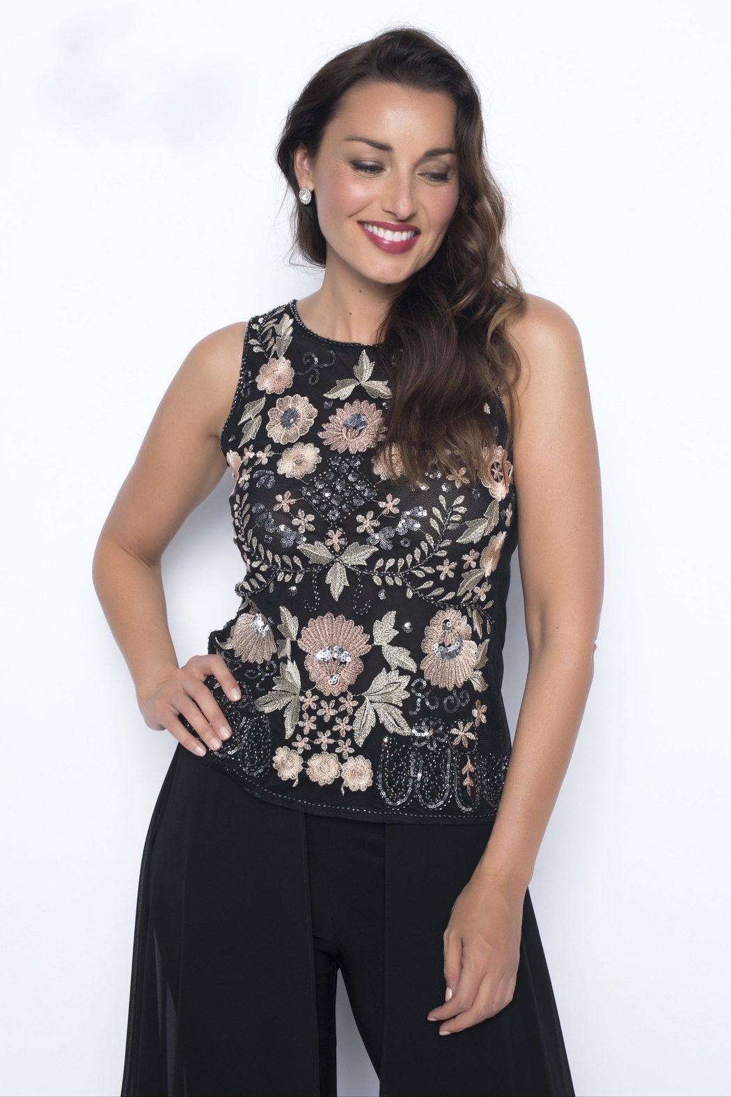 Frank Lyman Embroidered Floral Top - Main Image
