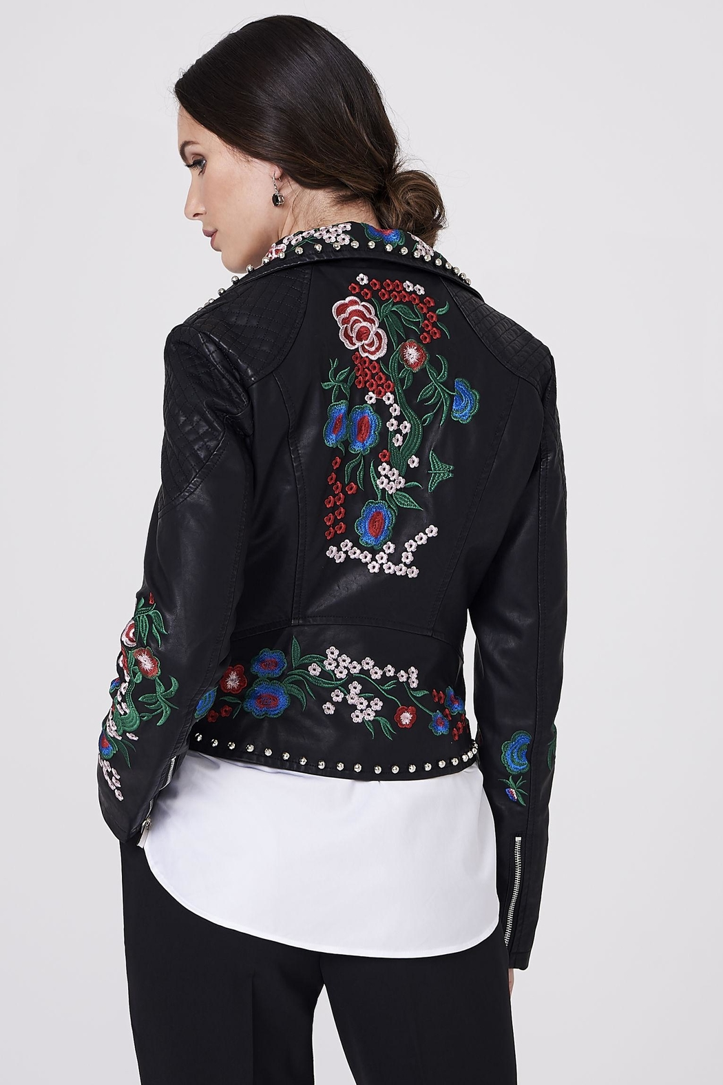 Frank Lyman Embroidered Moto Jacket - Front Full Image