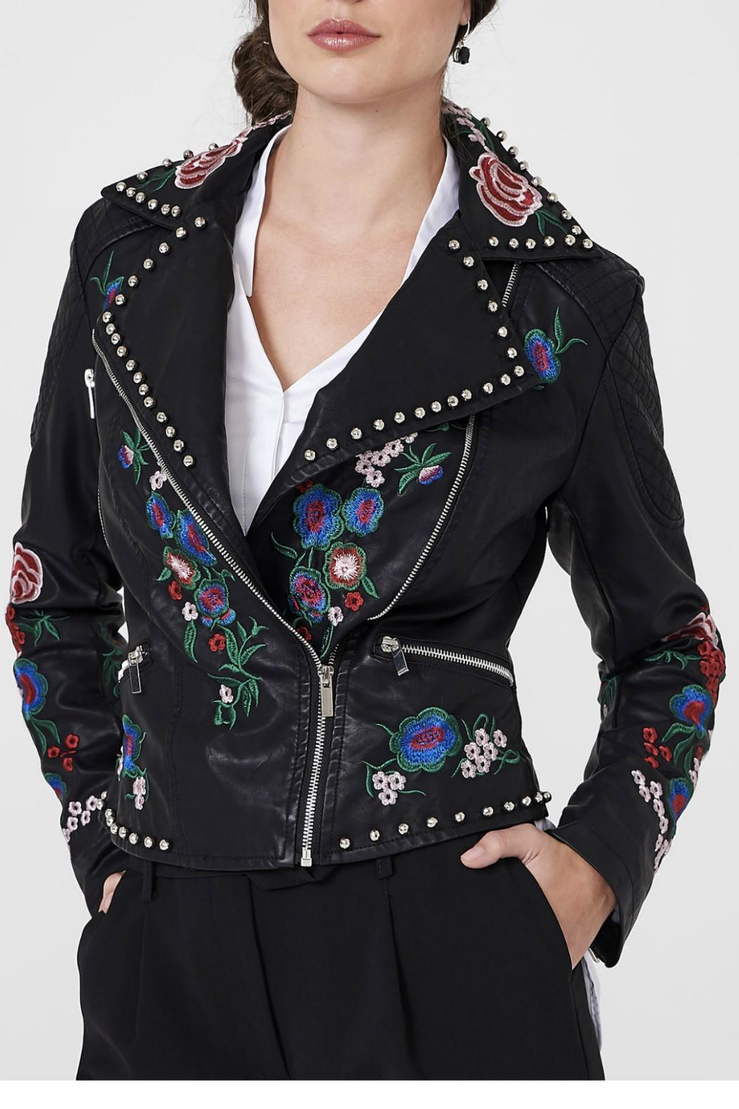 Frank Lyman Embroidered Moto Jacket - Front Cropped Image