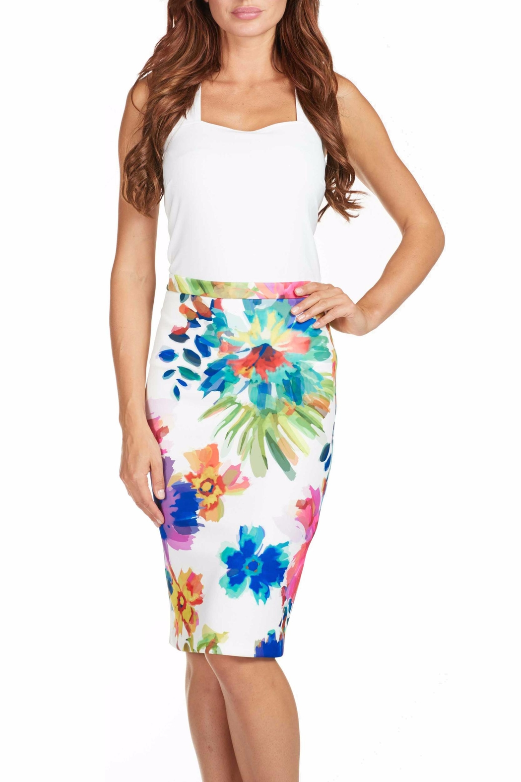 Frank Lyman Lined Floral Skirt - Main Image
