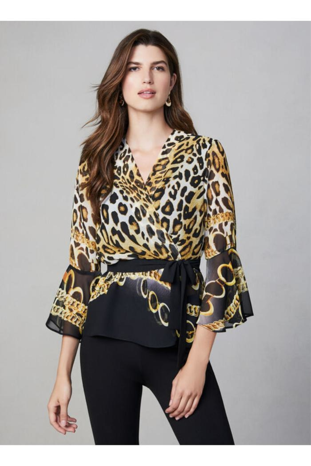 Frank Lyman Mixed Print Blouse - Front Full Image