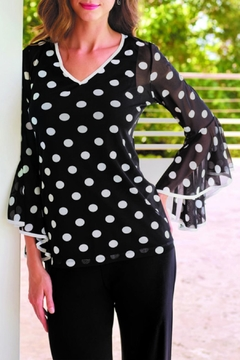 Shoptiques Product: Polka-Dot Bell-Sleeved Blouse