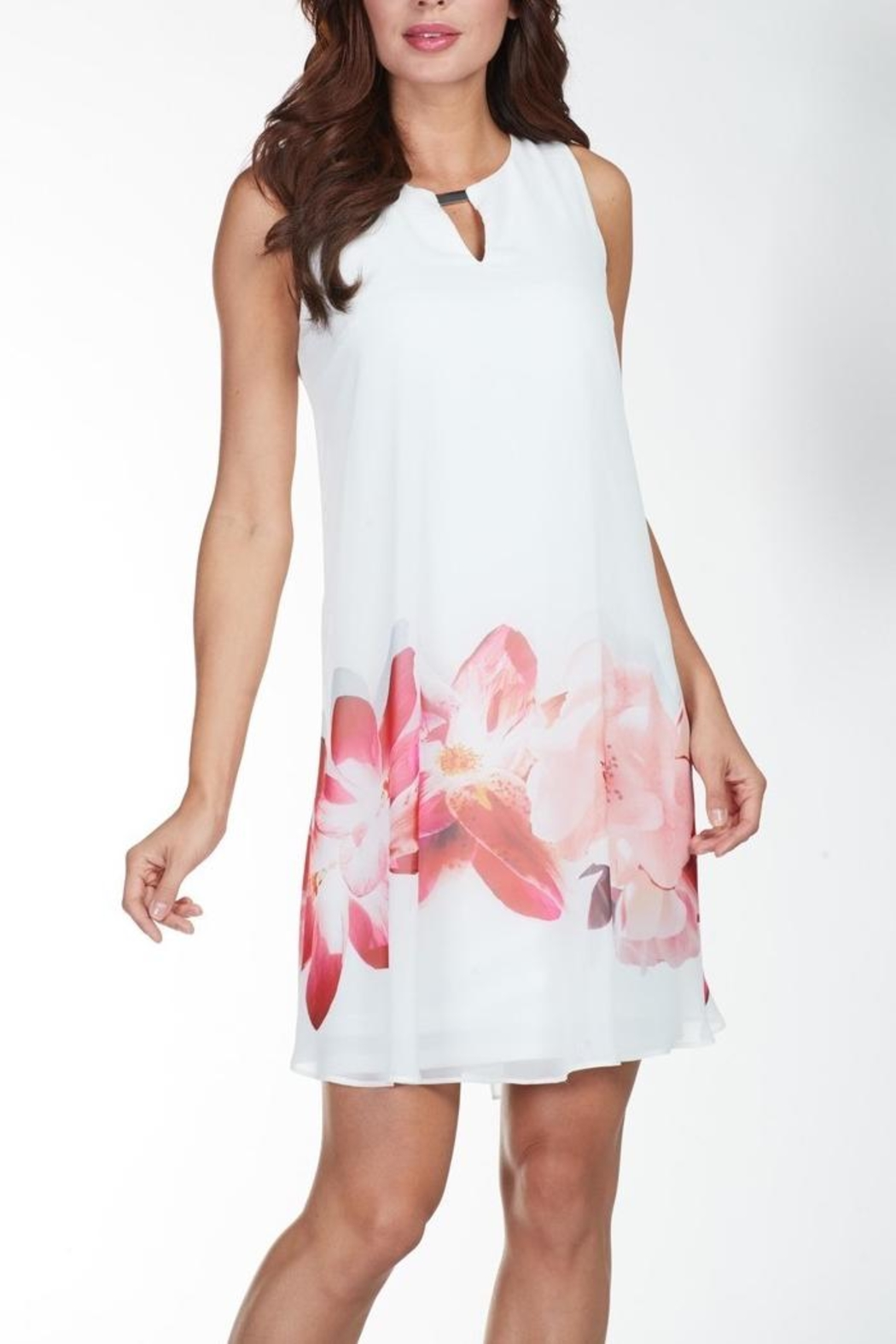 Frank Lyman White Coral Dress - Main Image