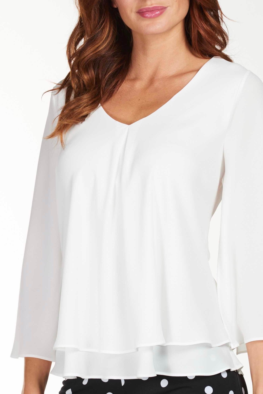 Frank Lyman Woven Knit Blouse - Front Full Image