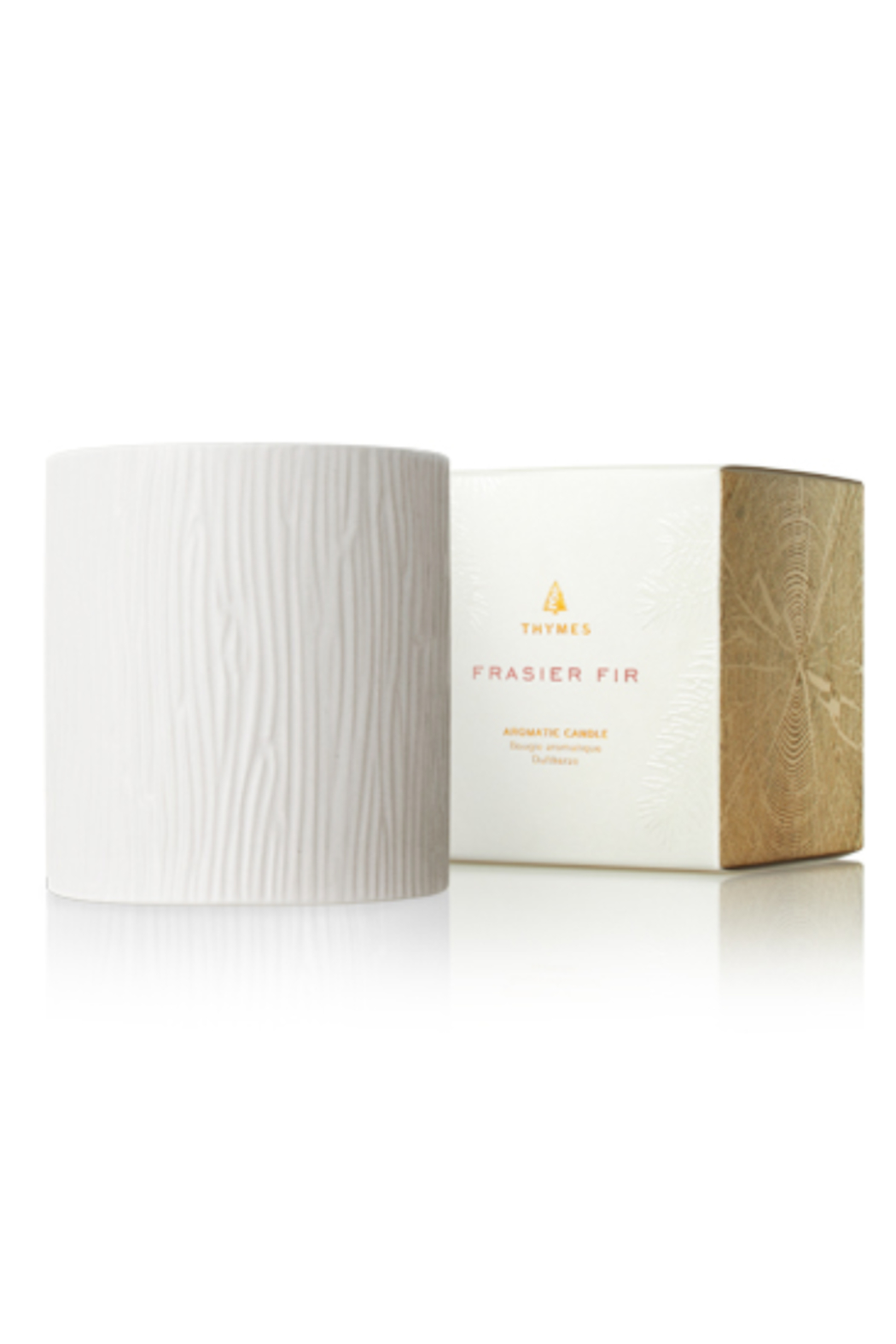 Thymes FRASIER FIR GILDED CERAMIC POURED CANDLE-MEDIUM - Main Image