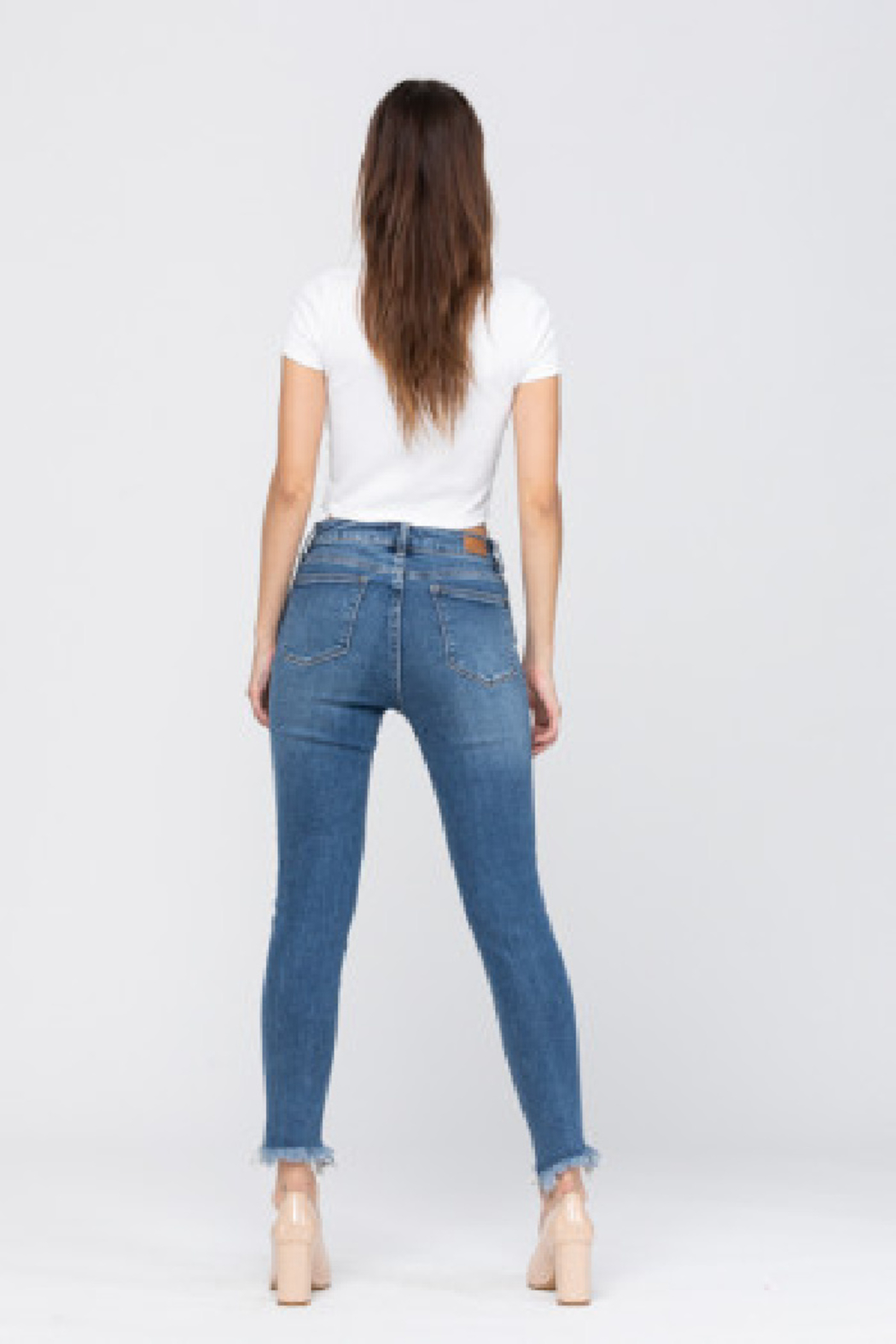 Judy Blue Fray Bottom High Waisted Skinny - Front Full Image
