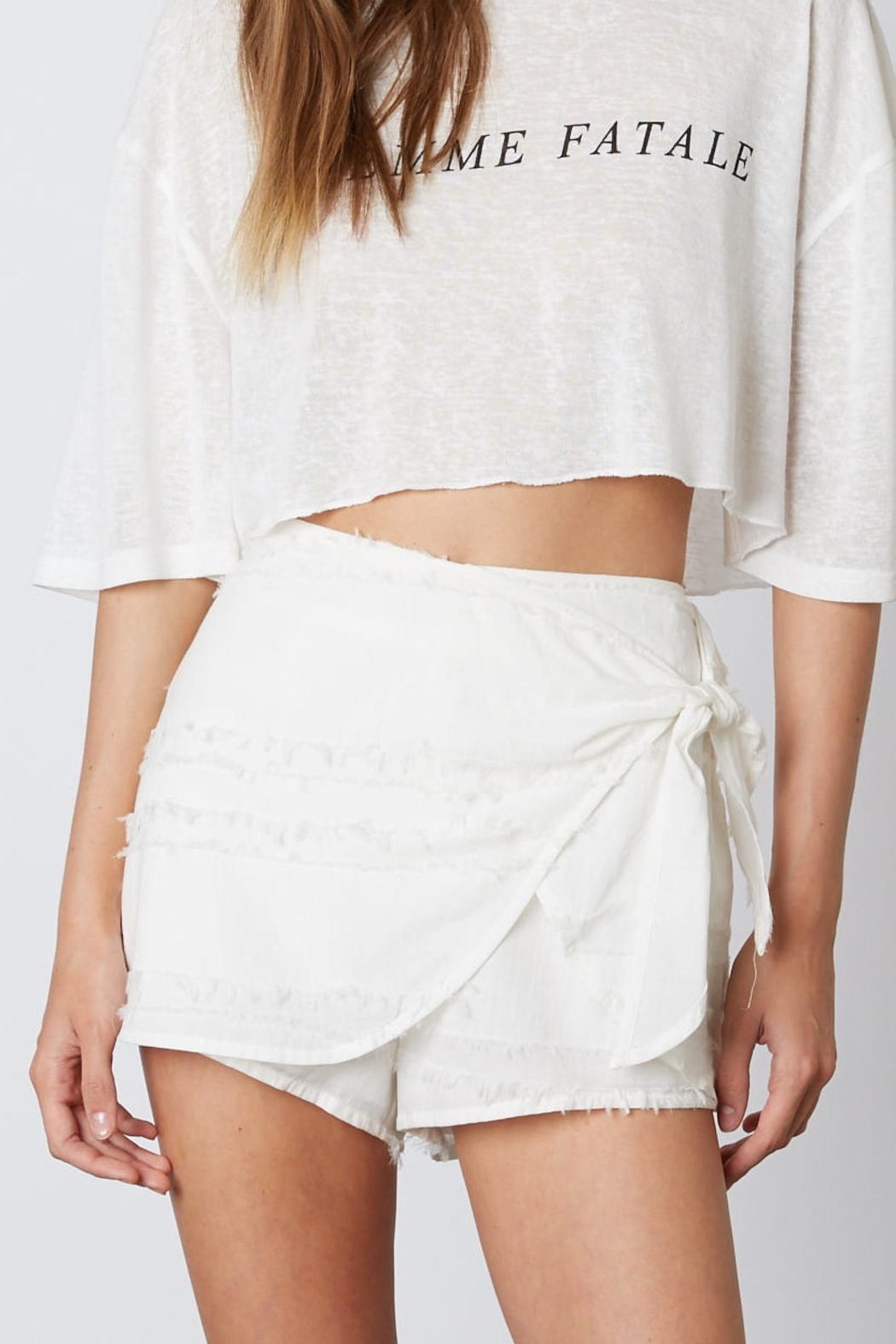 Cotton Candy  Fray Detail Skort - Front Cropped Image