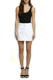 Dex Fray Hem Button Front Denim Mini Skirt - Front cropped