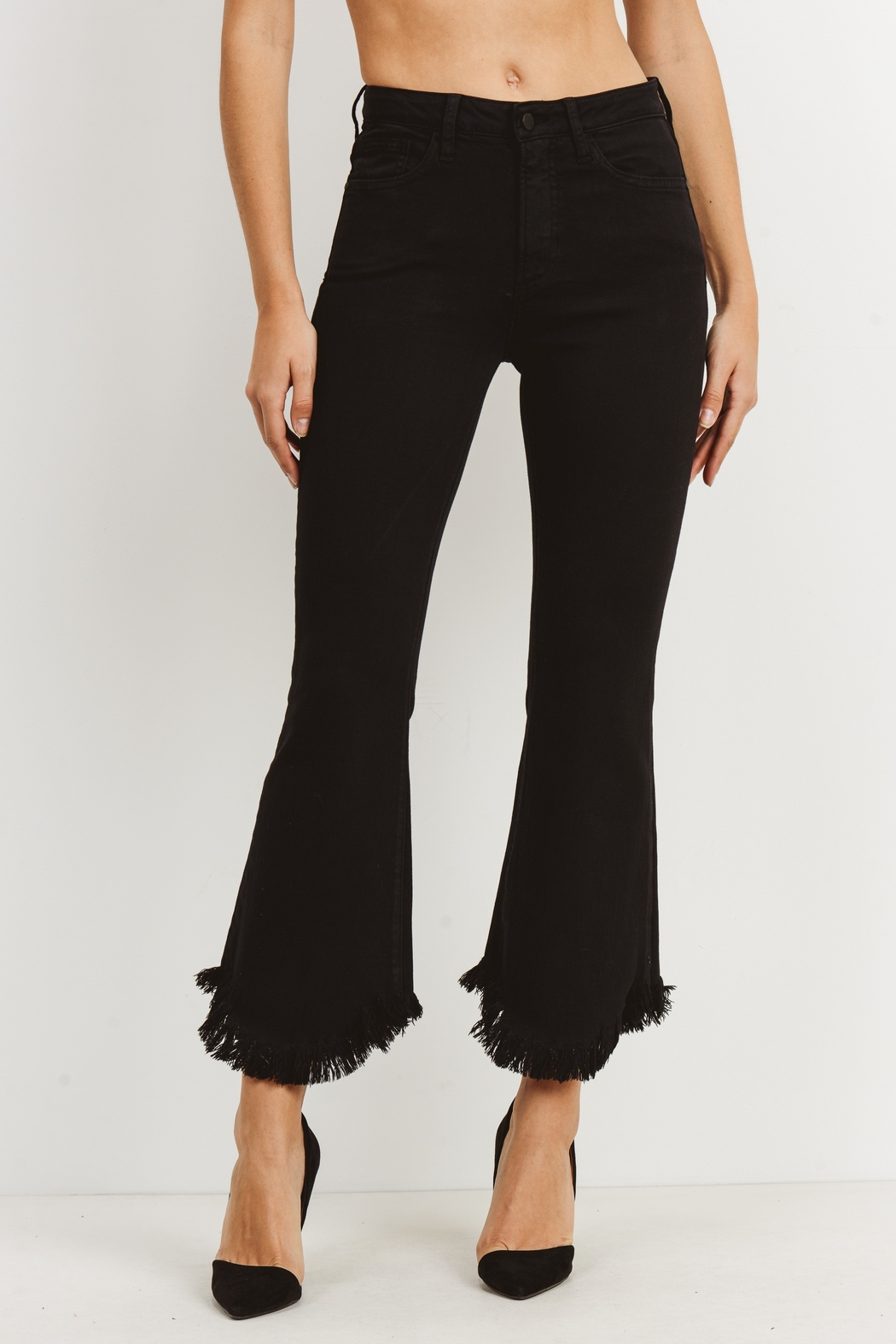 just black Fray Hem Crop Flare - Front Cropped Image