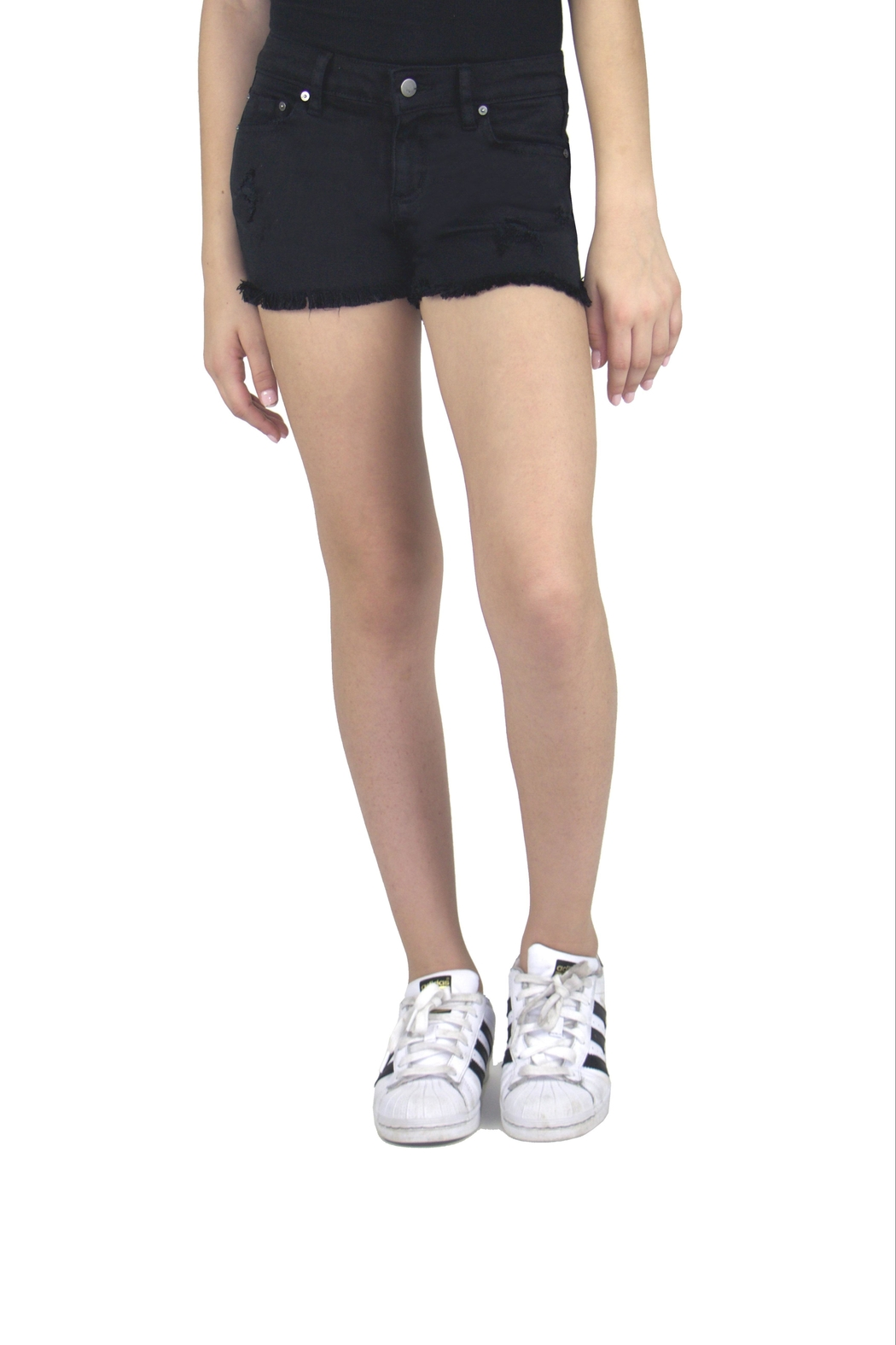 Tractr Fray-Hem Denim Shorts - Front Cropped Image