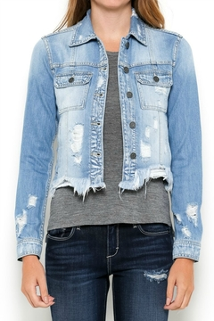 Hidden Jeans Frayed Bottom Fitted Jacket - Product List Image