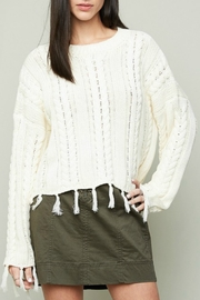 Hayden Frayed Cableknit Sweater - Product Mini Image