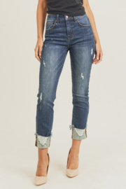 Risen Jeans  Frayed Cuff Jeans - Product Mini Image