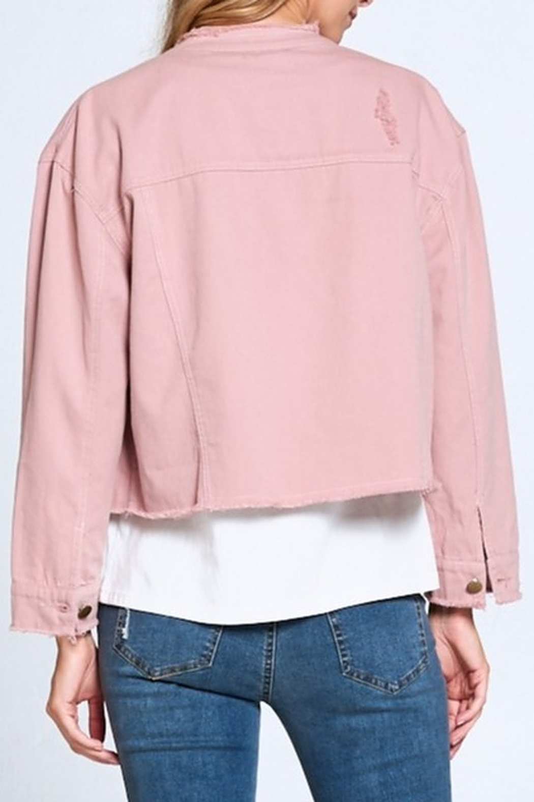 Ellison Frayed Denim Jacket - Side Cropped Image