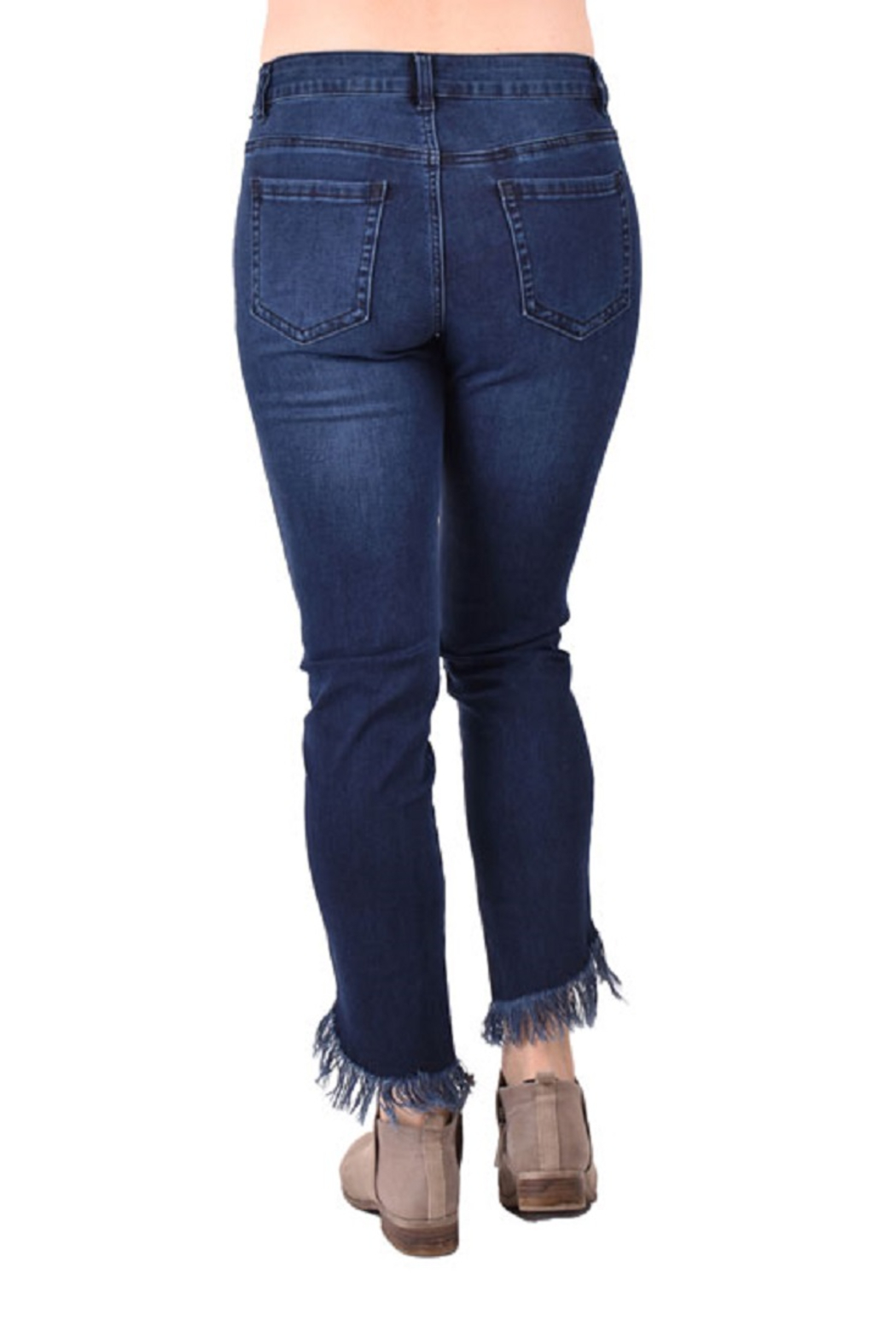 True Blue Clothing Frayed Denim Jeans - Front Full Image
