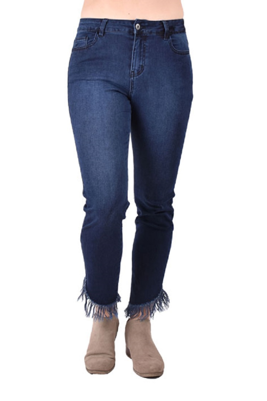True Blue Clothing Frayed Denim Jeans - Front Cropped Image