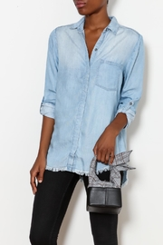Beach Lunch Lounge Frayed Denim Shirt - Front cropped