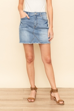 Hem and Thread Frayed Denim Skirt - Product List Image