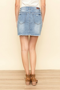 Hem and Thread Frayed Denim Skirt - Alternate List Image