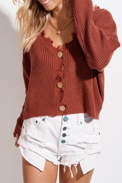 LA MIEL  Frayed Edge Cardigan - Alternate List Image
