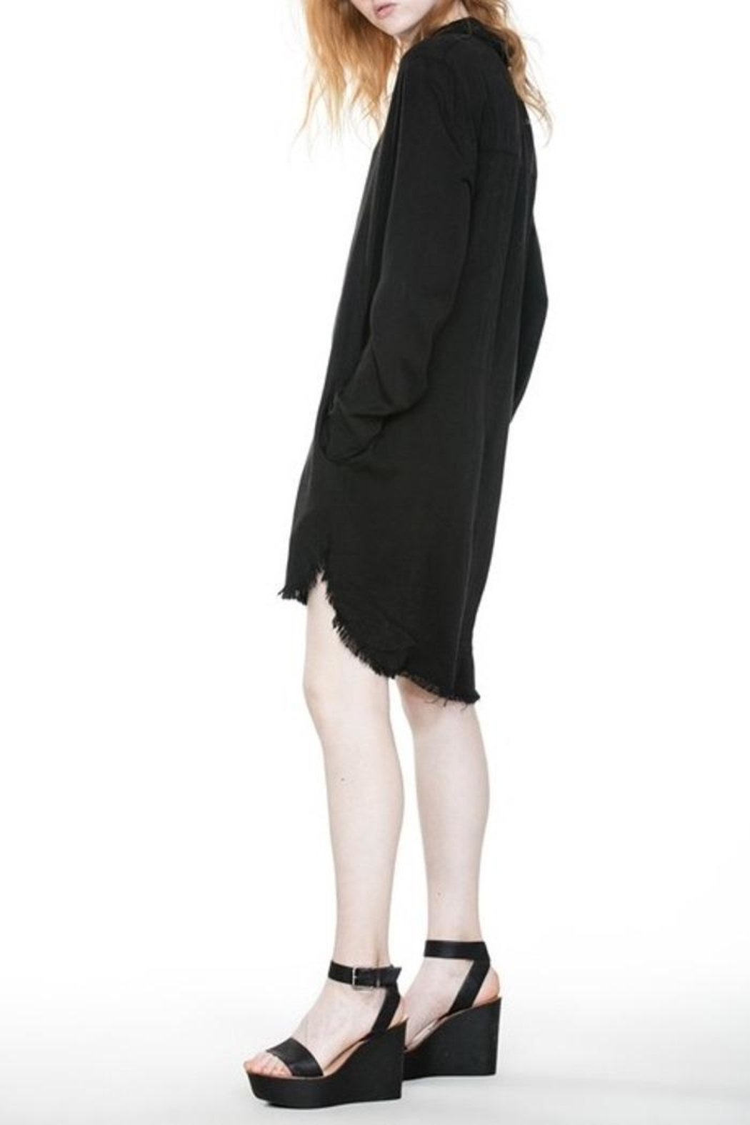 En Creme Frayed Edge Dress - Back Cropped Image