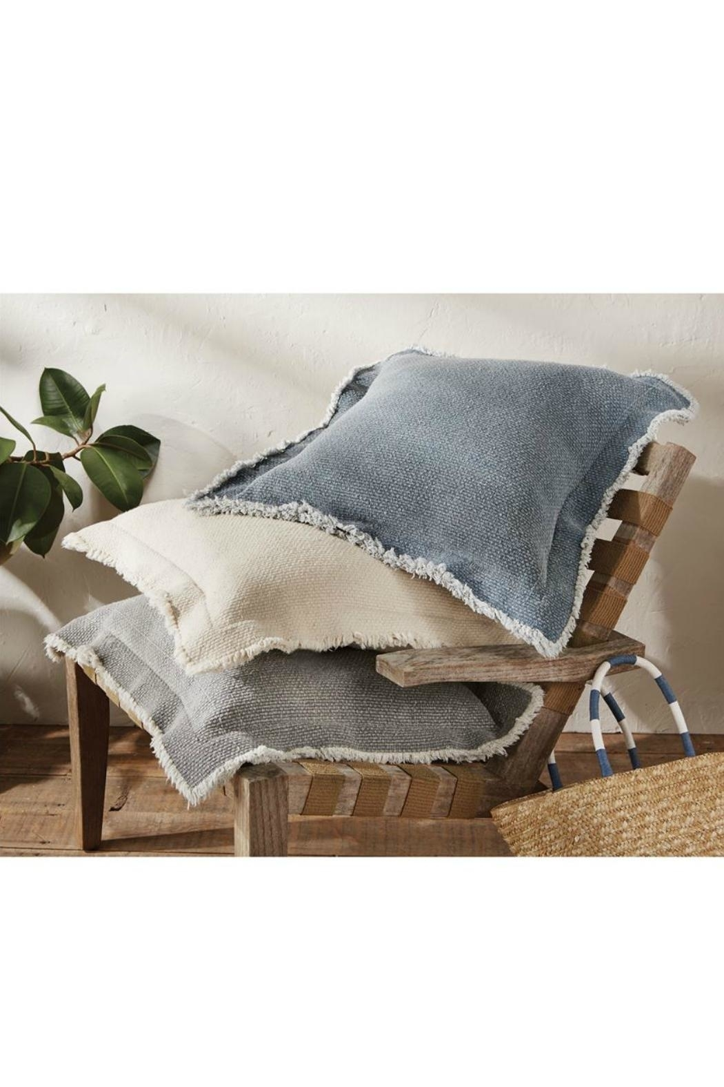 Mud Pie Frayed Flange Pillow - Front Full Image