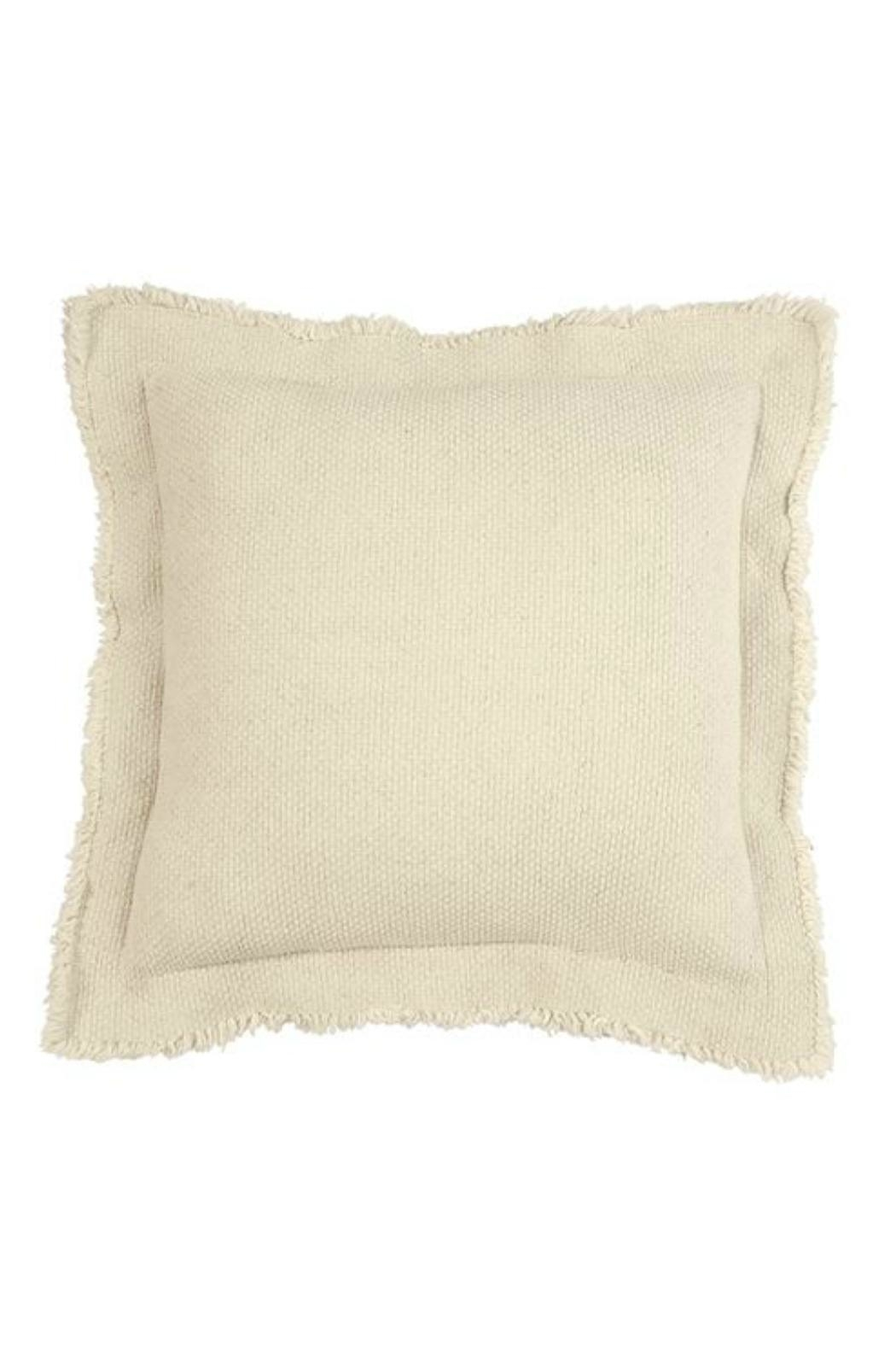 Mud Pie Frayed Flange Pillow - Front Cropped Image