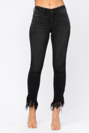 Judy Blue Frayed Hem Faded Black Jeans - Product Mini Image