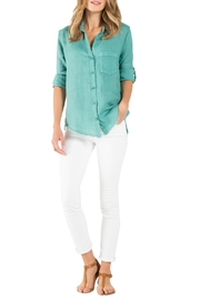 Side Stitch Frayed Hem Buttondown - Product Mini Image