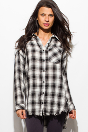 MONTREZ FRAYED HEM FLANNEL TOP - Product Mini Image