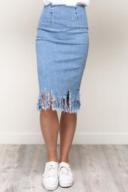 Mustard Seed Frayed Hem Skirt - Product Mini Image
