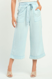 Dex FRAYED HEM WIDE LEG BELTED PANT - Product Mini Image