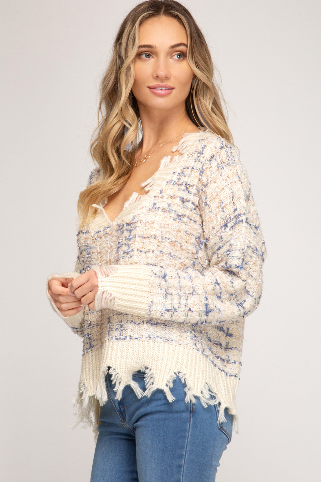 She & Sky  Frayed Mixed Thread Sweater - Side Cropped Image